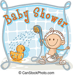 Baby Shower Cartoon Invitation - Vector cartoon of a baby...