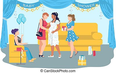 Baby shower celebration party in cozy room, woman pregnant character rejoice gestation flat vector illustration, isolated on white. Concept girlfriend give gift to girl, souvenir box and package.