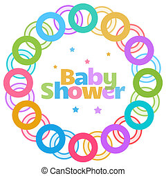 Baby Shower Colorful Rings Circular