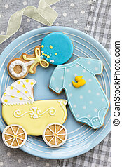 Baby shower cookies - Blue and yellow cookies for a baby ...