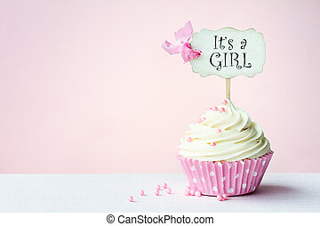 Baby shower cupcake with copy space to side