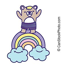 baby shower cute bear rainbow clouds cartoon