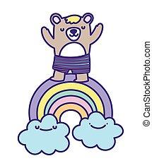 baby shower cute bear rainbow clouds cartoon