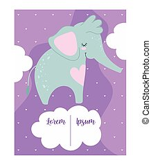 baby shower, cute elephant clouds cartoon, purple background theme invitation card