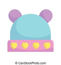baby shower, cute hat with hearts accessory, announce newborn welcome isolated design icon