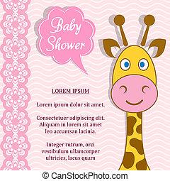 Baby shower - Cute pink baby girl shower card with giraffe