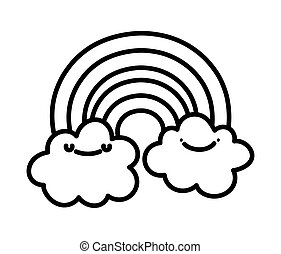 baby shower cute rainbow and clouds cartoon line style