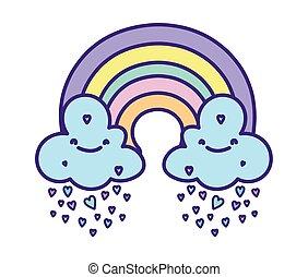 baby shower cute rainbow with clouds rain hearts love cartoon