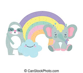 baby shower cute sloth elephant rainbow cloud cartoon
