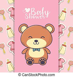 baby shower cute teddy bear toy bottle rattle background