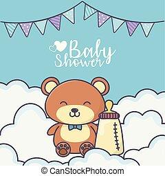 baby shower cute teddy bear with bottle