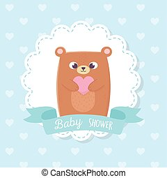 baby shower, cute teddy bear with heart ribbon decoration