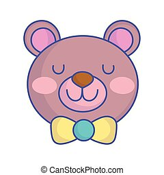 baby shower cute toy teddy bear face icon