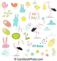 Baby Shower Decorative Elements Set with Cute Stork, Newborn Child and Bunnies. Party Decoration, Invitation, Happy Birthday. Vector illustration