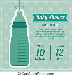 Baby Shower design. baby bottle  icon.  Blue illustration, vecto