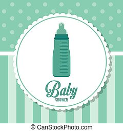Baby Shower design. baby bottle  icon.  Blue illustration, vector
