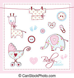 Baby shower design elements - Cute elements for scrapbook,...