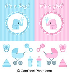 Baby shower design elements. Cute cartoon baby elephant on...