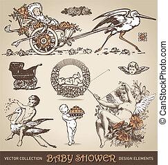 baby shower design elements /vector