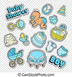 Baby Shower Doodle With Boy, Toys And Socks. Newborn Party Decoration  Stickers, Badges