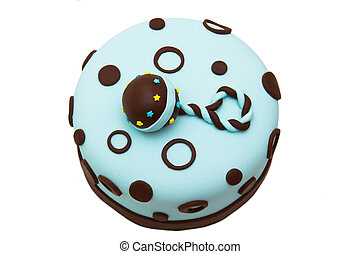 Baby shower fondant cake with a rattle on top