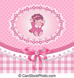 Baby shower for girl with toy, vector