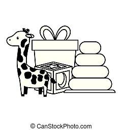 baby shower giraffe gift cube pyramid toys