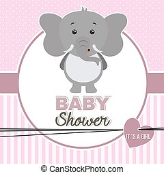 baby shower girl. Cute elephant
