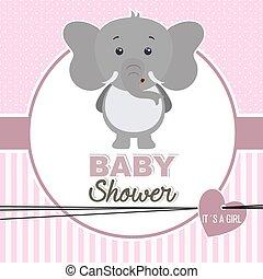 baby shower girl. Cute elephant