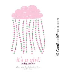 Baby shower girl invitation. Cloud, hearts, drops