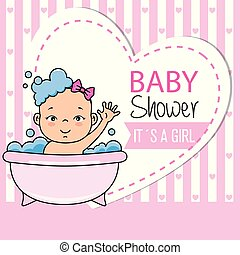 little girl bathing in the bathtub