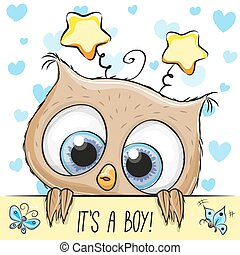 Baby Shower Greeting Card with cute Owl boy