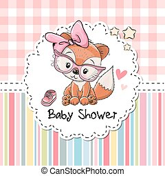 Baby Shower Greeting Card with Fox