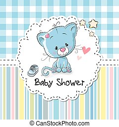 Baby Shower Greeting Card with Kitten