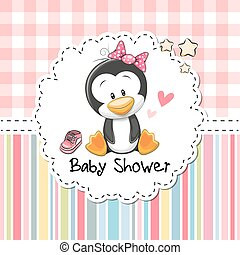 Baby Shower Greeting Card With Penguin