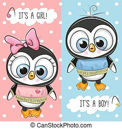 Baby Shower greeting card with Penguins
