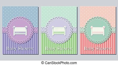 Cute Card Baby Newborn In Blue Green Colors 3d Vintage Font