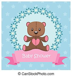 Baby shower greeting with a teddy bear