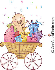 Baby Shower - Illustration of a Baby Surrounded by Gifts