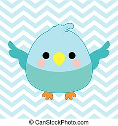 Baby shower illustration with cute baby bird on blue chevron color background
