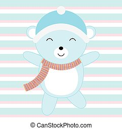 Baby shower illustration with cute blue baby bear on blue stripes background