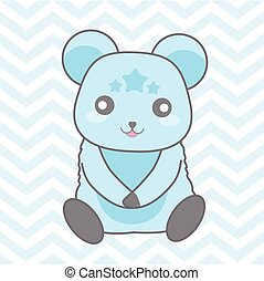 Baby shower illustration with cute blue bear on blue chevron background