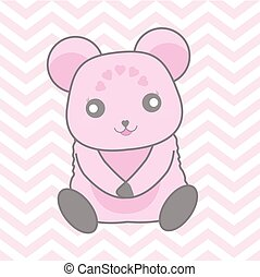 Baby shower illustration with cute blue bear on pink chevron background