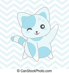 Baby shower illustration with cute blue cat on chevron background