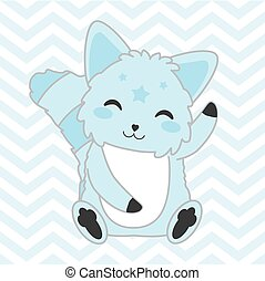 Baby shower illustration with cute blue dog on chevron background
