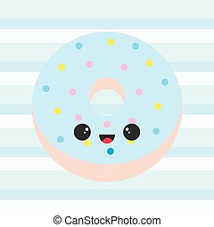 Baby shower illustration with cute blue donut on stripes background