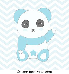 Baby shower illustration with cute blue panda on blue chevron background