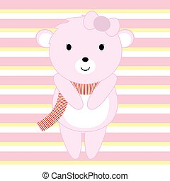 Baby shower illustration with cute pink baby bear on pink stripes background