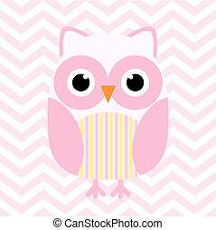 Baby shower illustration with cute pink baby owl on pink chevron background