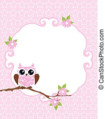Baby Shower - vector baby shower card with owl